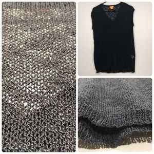 Joe Fresh V-neck Mesh See Through Sweater Top